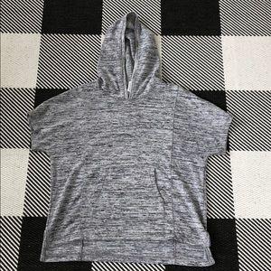Athleta girl hooded kangaroo pocket Tee gray